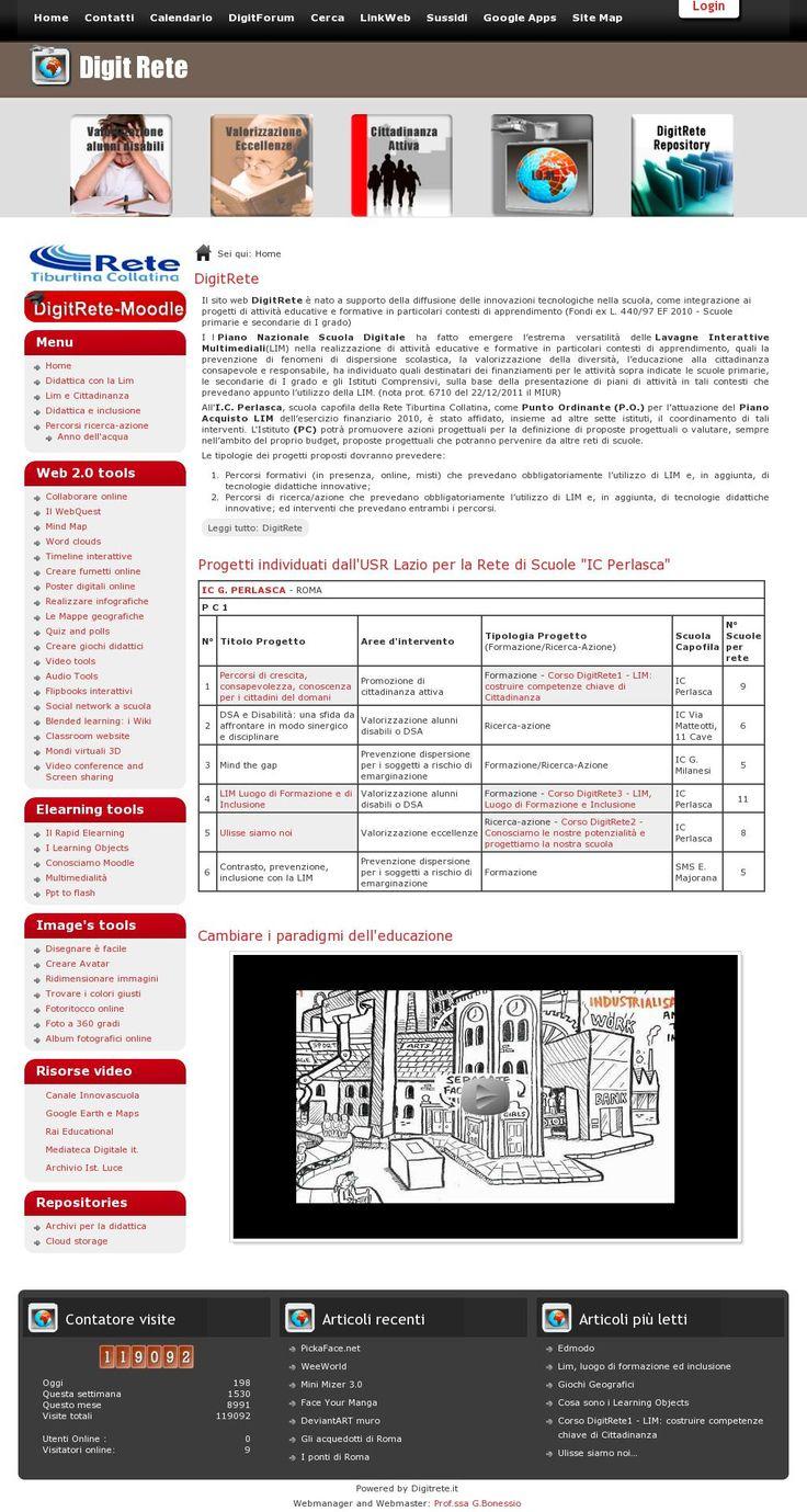 DigitRete è nato a supporto della diffusione delle innovazioni tecnologiche nella scuola contiene molte informazioni sugli strumenti del Web 2.0 'http://www.digitrete.it/' courtesy of @Pinstamatic (http://pinstamatic.com)