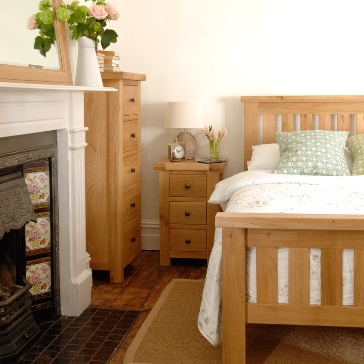 Oak Double Bed, bedroom, fireplace, flowers, mirror, cushions, lamp, cosy, wooden floors, period fireplace