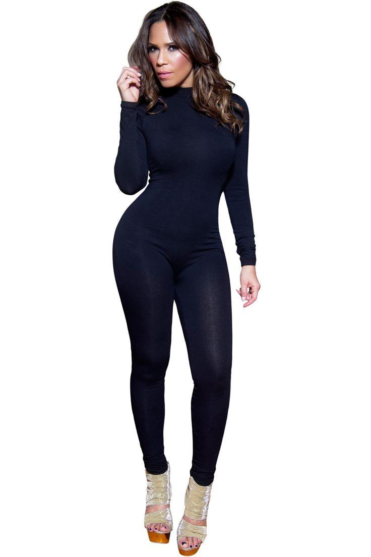 Sexy Black Mockneck Long Sleeved Full Length Bodysuit