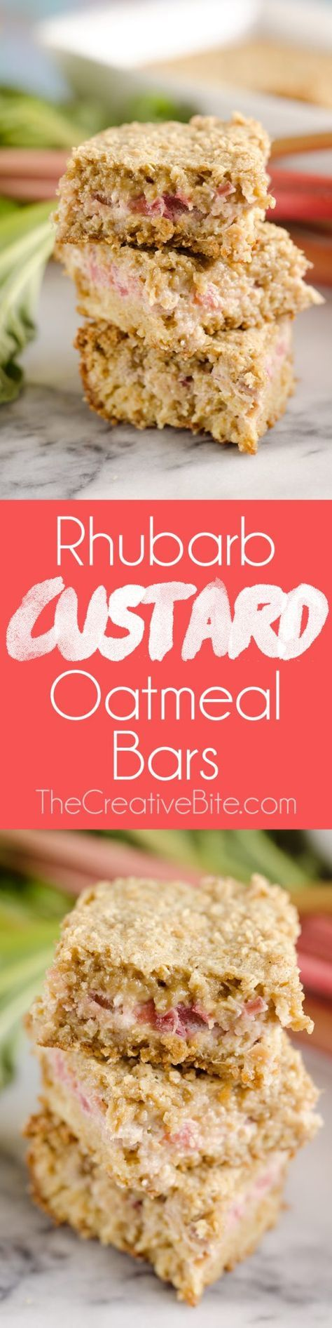 Rhubarb Custard Oatmeal Bars are a fun twist on a favorite summer treat. Fresh rhubarb and custard are layered with chewy oatmeal layers for a dessert that everyone will love! #Rhubarb #Dessert #Sweet