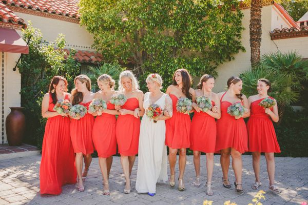 poppy bridesmaid dresses, photo by Brian Evans Photography http://ruffledblog.com/free-spirited-palm-springs-wedding #bridesmaids #bridesmaiddresses