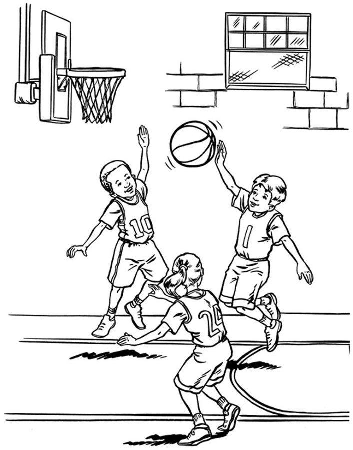 Basketball Activities For Kids Coloring Sketsa