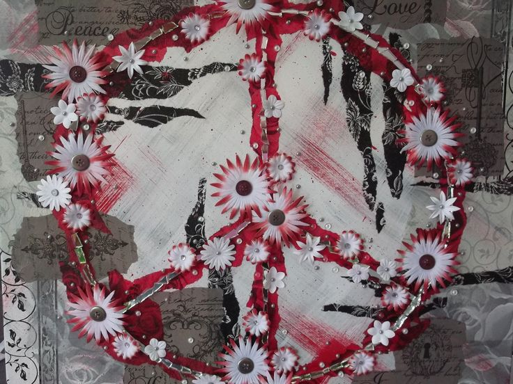 """Mix Media Peace sign by Craft at Fourways """"One of a Kind"""" artist Margie Gray"""