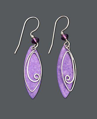 Jody Coyote Sterling Silver Earrings, Purple Leaf Drop Earrings - Earrings - Jewelry & Watches - Macy's