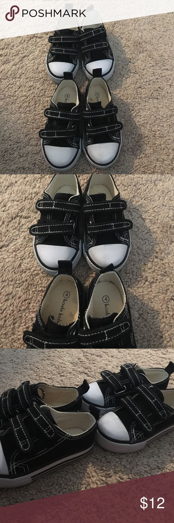 """KOALA KIDS • black/white shoes Adorable!!! Replica of the converse shoes. BabiesRus brand """"KOALA KIDS""""  size 4 my twins were 6-12 months while wearing these.  I have two pairs selling one pair each. Very gently used for a short amount of time. Normal signs of wear. ✨Come from a clean/smoke free home. 10% off if you buy 2+more Bundle. Serious inquiries only and NO trade. Everything is final sale✨ Koala Kids Shoes Sneakers"""