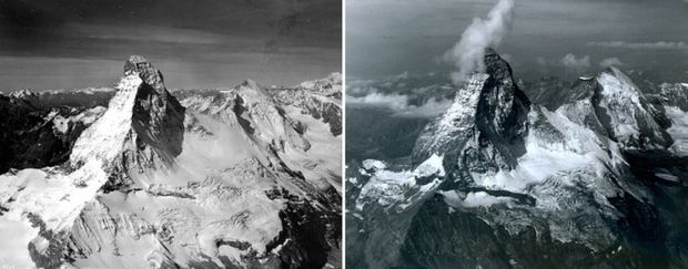 Matterhorn v Alpách v auguste 1960 vs. v auguste 2005. (Foto: NASA)