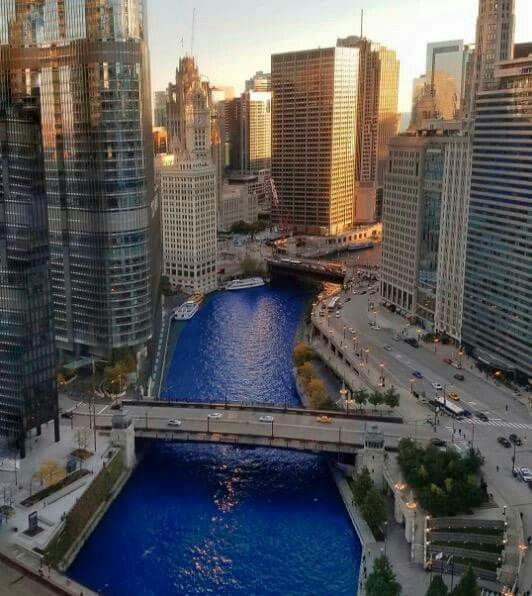 """Chicago River dyed """"Cubbie Blue"""" after winning the 2016 World Series!"""