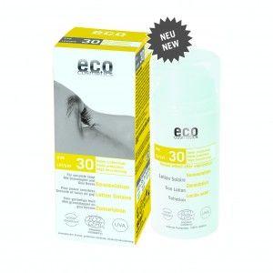Eco Cosmetics - Sollotion SPF 30 Högt skydd Vegan 100ml 159,00kr Sollotion med goji och granatäpple. Vattenfast mineralskydd som ger omedelbart UVA och UVB skydd, för kropp och ansikte. Utan nanoteknologi, zinkoxid eller parabener. Praktisk pump.