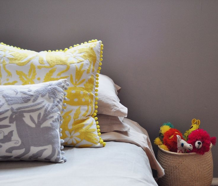 Image of LARGE OTOMI POM POM PILLOW COVER - YELLOW