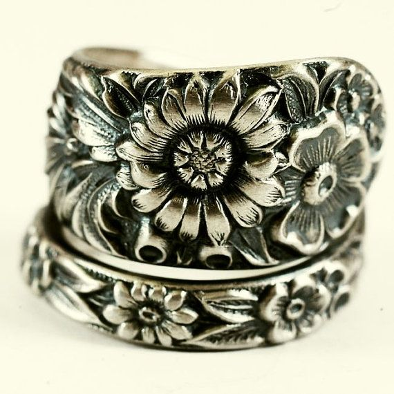 Antique Wild Flower Spoon Ring By Kirk Stieff in by Spoonier, $62.00