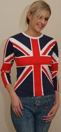 Union Jack Ladies 3 4 Sleeve T Shirt British London Olympics English TOP Fashion   eBay