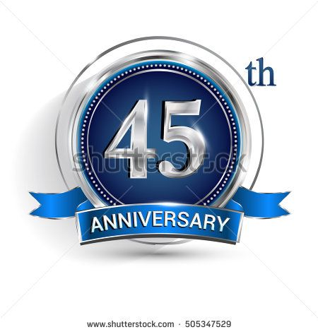 Celebrating 45th anniversary logo, with silver ring and blue ribbon isolated on white background.