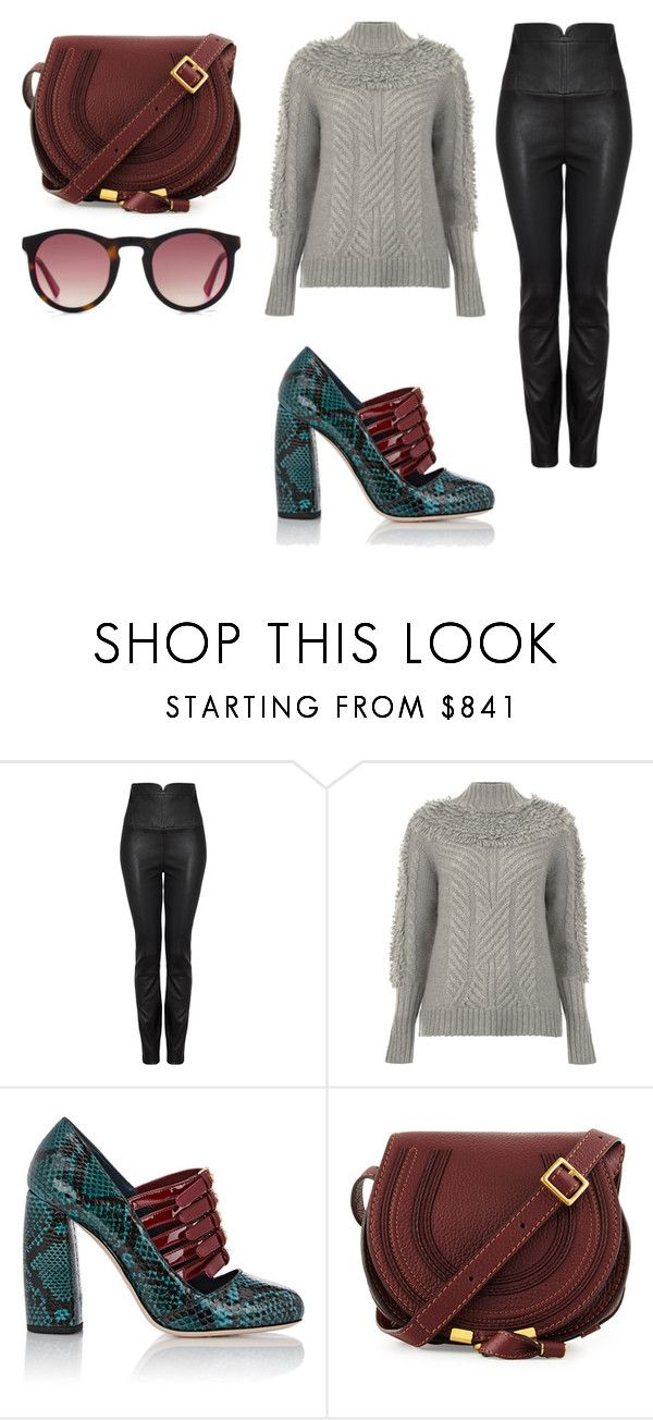 """""""Sin título #2777"""" by ceciliaamuedo ❤ liked on Polyvore featuring Temperley London, Miu Miu, Chloé and HOOK LDN"""