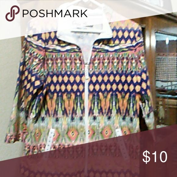 Womens zip up 3/4 sleeve Aztec print like new with rhinestones Tops