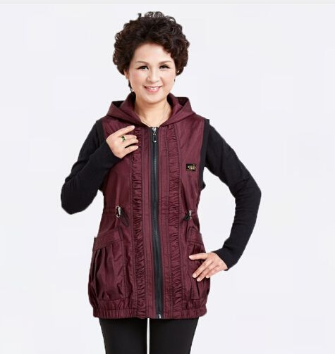 ==> [Free Shipping] Buy Best Spring Mothers Dark Purple Black Cotton Hooded Vest Coat Middle Aged Women Plus Sized Sleeveless Jackets Vintage Style Waistcoat Online with LOWEST Price | 32681427956