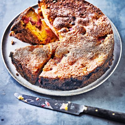 Rhubarb & orange polenta cake