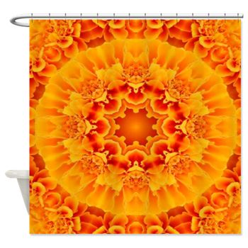 Orange Marigold Mandala Shower Curtain by Khoncepts