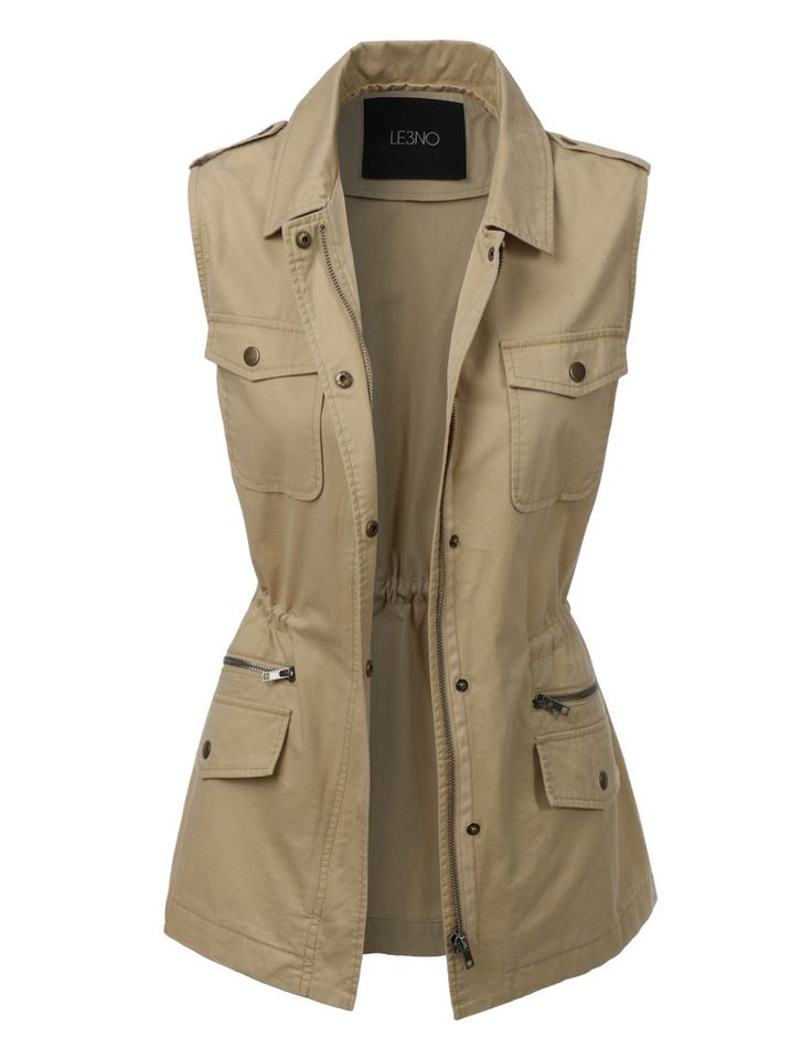 LE3NO Womens Sleeveless Military Anorak Jacket Vest with Pockets - 206 Best WOMEN'S ANORAK JACKETS Images On Pinterest Anorak