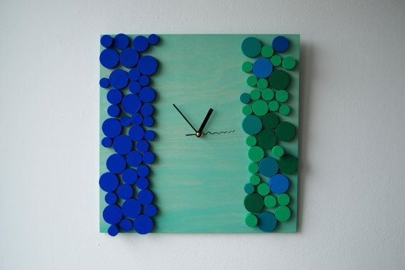 Deco Oceanic Bubbles / Wood wall clock / Geometric by DecoBoxRo, $109.00