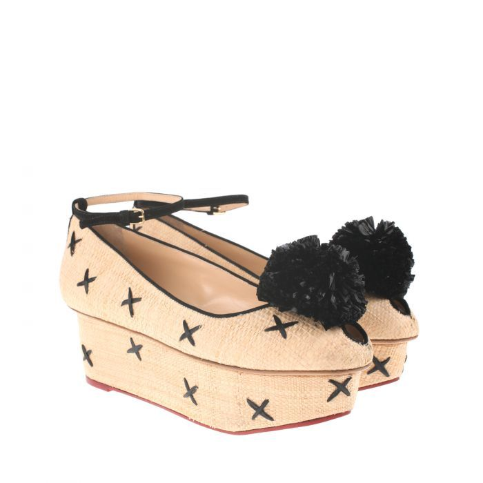 "CHARLOTTE OLYMPIA - espadrilles  Braided raffia ""Loretta"" flatforms, cris cross details, pom-pom, ankle strap with adjustable buckle, leather sole, signature Charlotte Olympia gold spider logo."