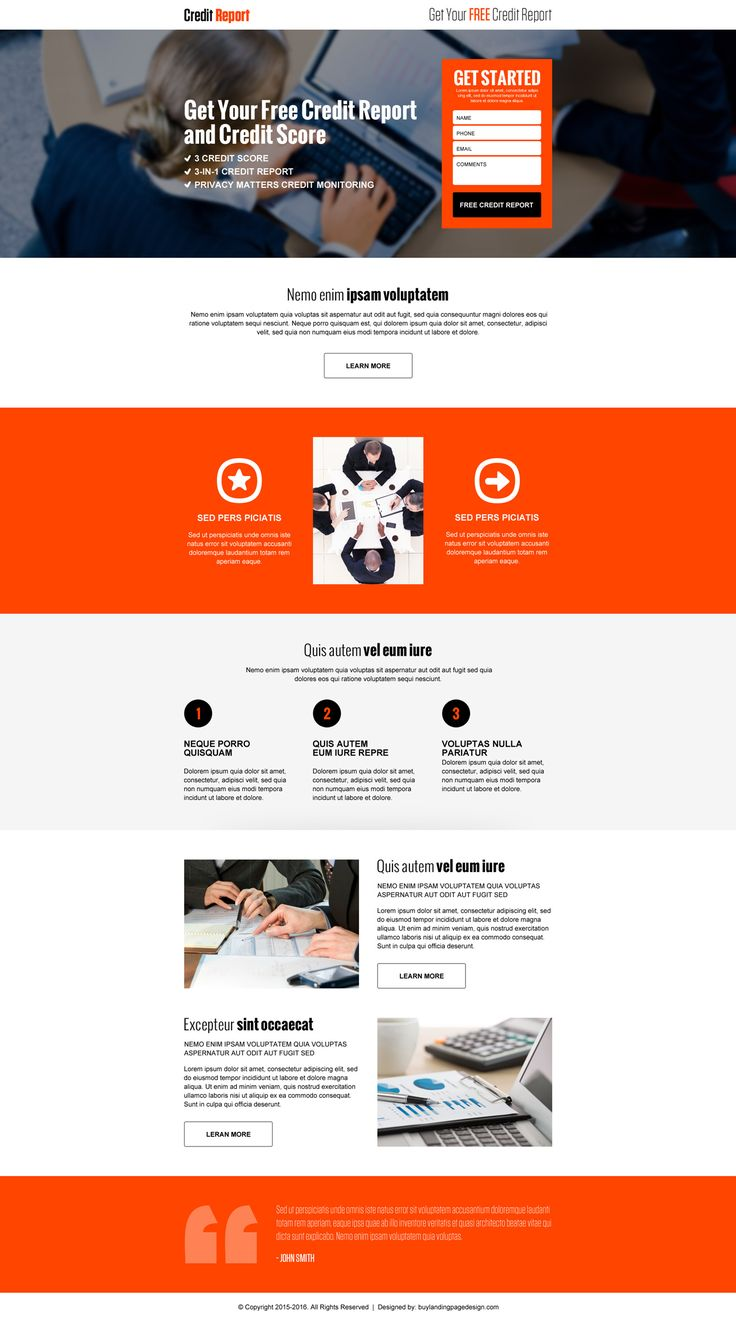 responsive free credit report and credit score landing page design