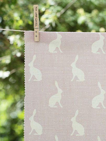 Mini Hares ~ Faded Heather Background on Cream Linen - Peony & Sage