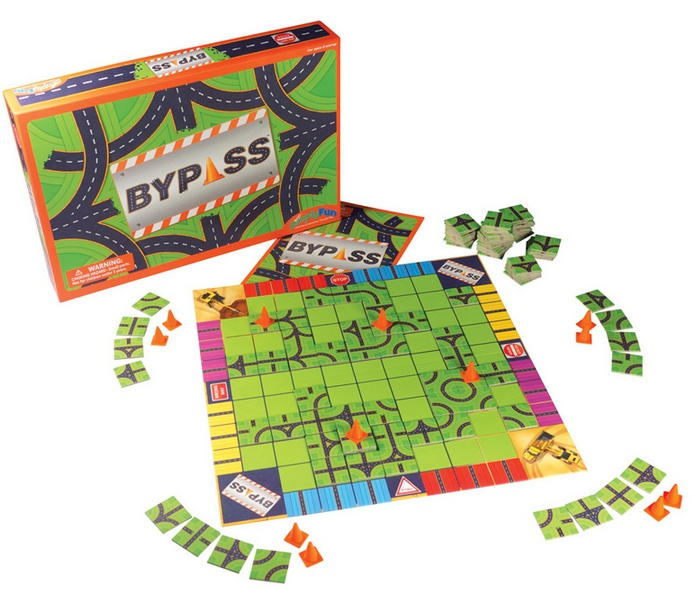 """ByPass: In this game, your challenge is to build or share a roadway built by others to navigate from one side of the board to the other. Drop a traffic cone to protect a route you like, or """"Bypass"""" one you don't. Make sure to watch for other players' roadways to 'break' them up before they have a complete route. Be the first person to complete a route to win.    Skills: Connectivity, Focus on a Path, Spatial Analysis  Cost: $32"""