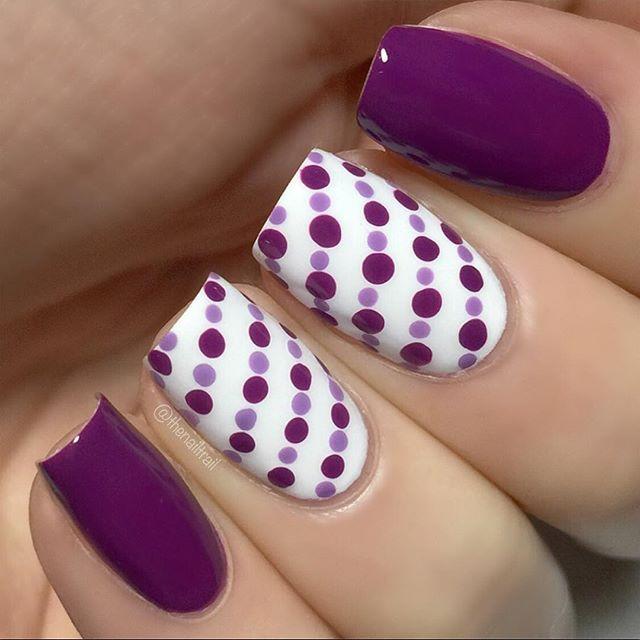 Purple/maroon dotticure. (by @thenailtrail on IG)