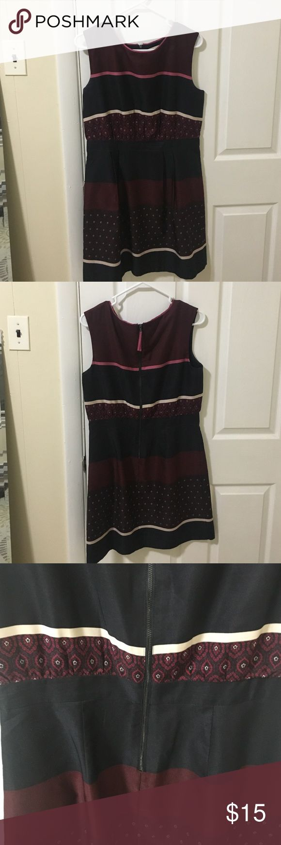 Maroon, navy, and cream Loft dress Loft dress that has an elastic waist band LOFT Dresses Mini
