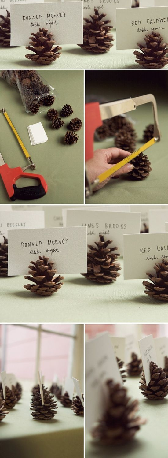 DIY pinecone name card holders for a camping themed party.
