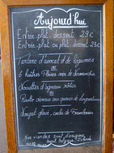 Sidewalk Cafe Menu, Paris, France Photographic Print by Lisa S ...