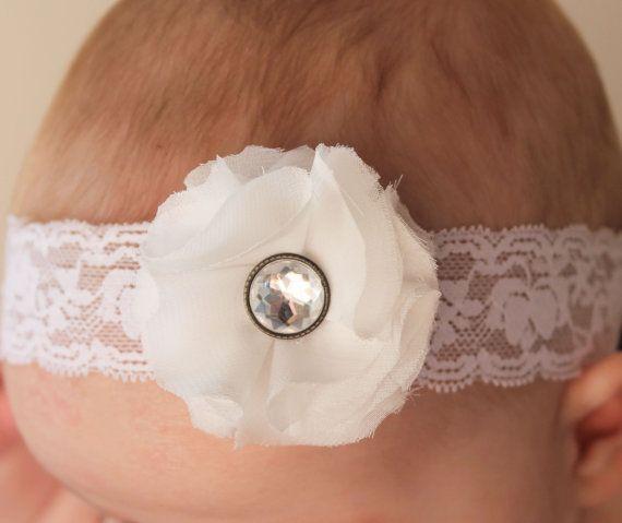 white lace chiffon flower baby headband... baby by ElianasCove, $11.00
