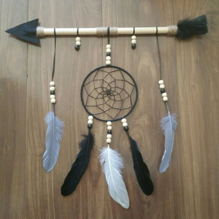 Krissy Jay's Dreamcatchers.  grey, white and black tribal.  Facebook Krissy Jay's.