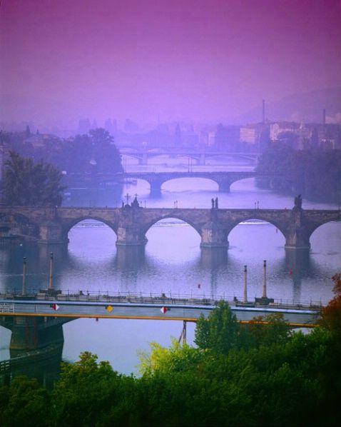Stunning beauty! Vltava River and bridges, Prague.