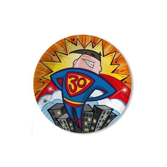 Borden 3-laags 30 jaar Superheld. Inhoud: 10 stuks. Formaat 23 cm. Materiaal: papier.