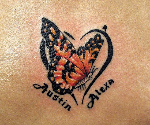 Butterfly Tattoos with Names - Like this design - would change the color though!