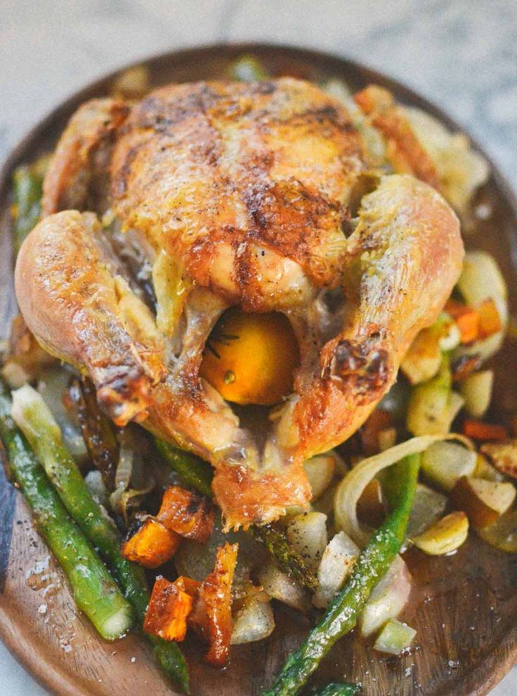 Viking Chicken - clean out the refrigerator and roast this chicken with whatever you have on hand. But to get started - here's a general recipe.