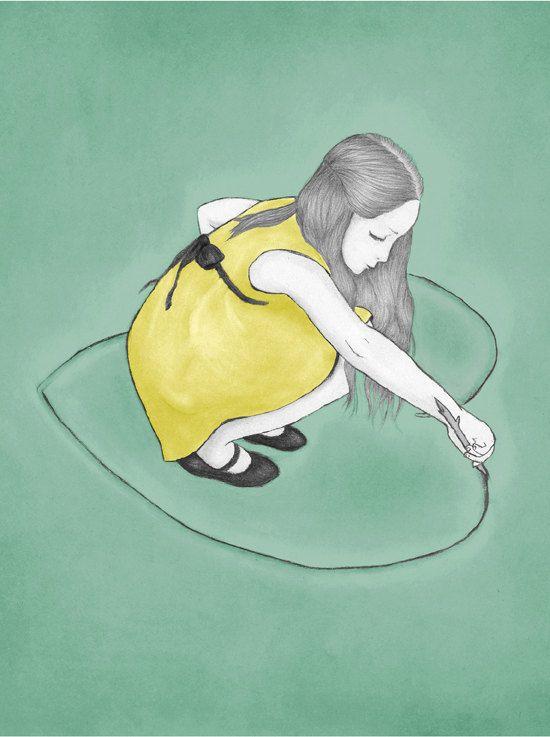 Pencil drawing illustration inspirational art print by shirae