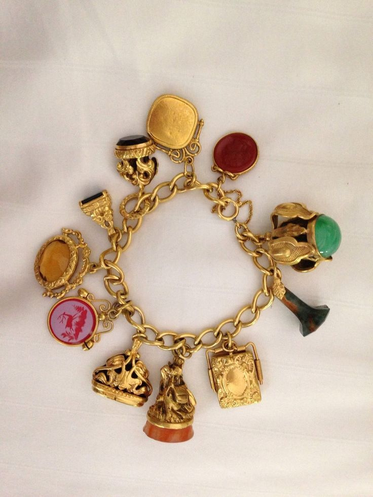 Details about Gold Filled Watch Fob Charm Bracelet ...