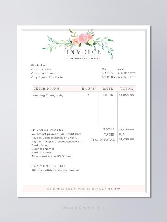 Photography Contract Template Bundle Photography Template Etsy Photography Invoice Photography Invoice Template Photography Contract
