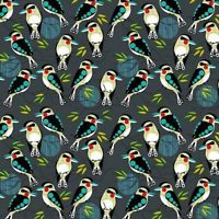 Bush Buddies Kookaburra Birds Australian 100% Cotton Fabric (Nutex)