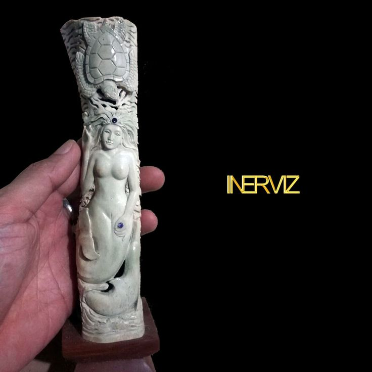 Hand Carved Mermaid Statue Natural Buffalo Bone Sculpture Home Decoration #Handmade #Contemporary