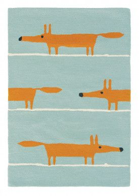 Lovely Design Teppich Mr Fox Aqua in Blau von Scion Kinderzimmer Teppich Skandi ONLOOM