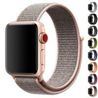 Wish | For Apple Watch Band,New Nylon Sport Loop with Hook and Loop Fastener Adjustable Closure Wrist Strap Replacment Band for Iwatch,38mm,42mm-Rose Gold