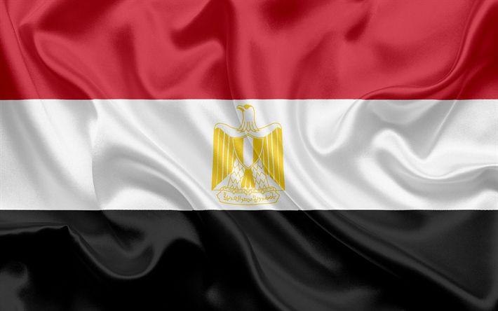 Descargar fondos de pantalla Bandera egipcia, Egipto, África, bandera de Egipto, bandera de seda