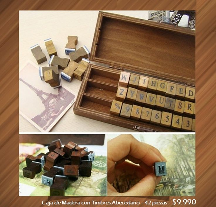 Caja Madera Timbres - 42 piezas. Tienda MyFavorite_4d / only beautiful things www.facebook.com/myfavorite4d