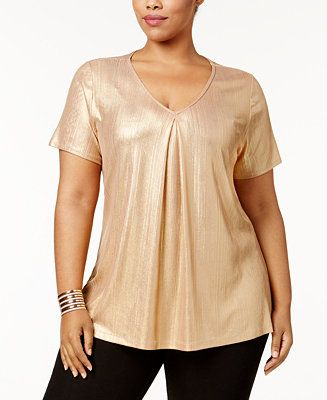 2cabbd0277886 NY Collection Plus Size Pleated Metallic Top - Tops - Plus Sizes - Macy s