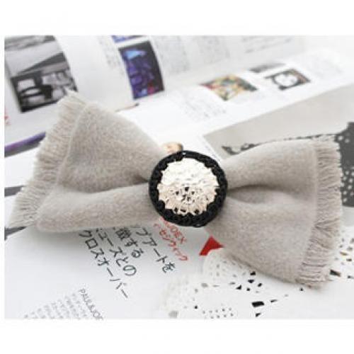 Trendy Ribbon Hairpin - Gray Gray - One Size