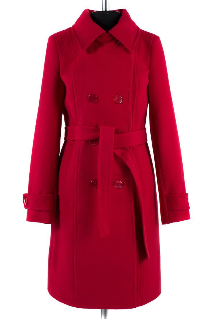 01-4036 Пальто женское демисезонное (пояс) Кашемир Красный