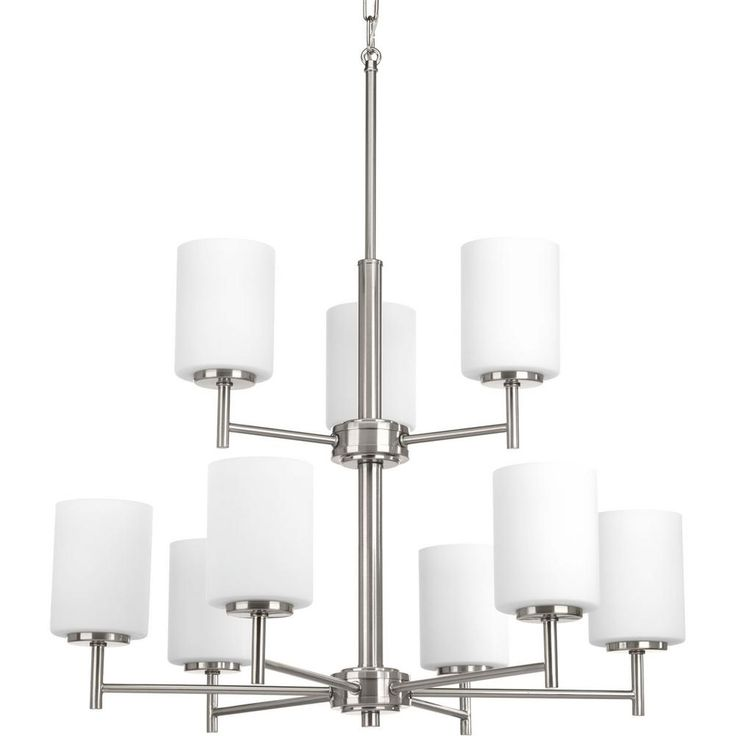 Progress Lighting Replay Collection 9-Light Brushed Nickel Chandelier with Shade
